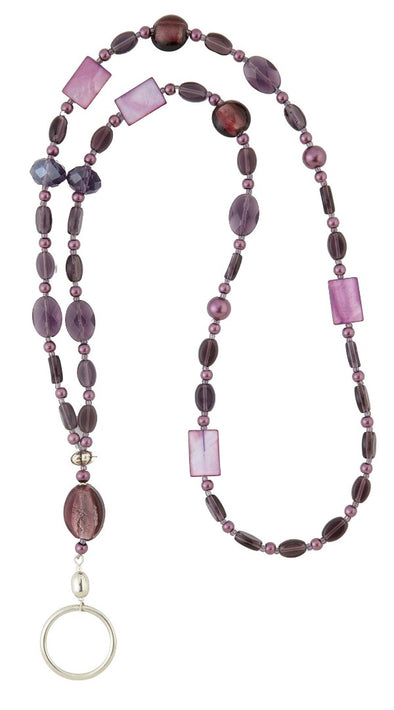 Amethyst Eyeglass Necklace/ID holder