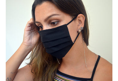 Reusable Pleated Face Mask- Black