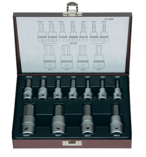 "UEROTECH Tradesman Quality 11 Piece 3/8"" & 1/2""Drive Inhex Socket Set Metric"