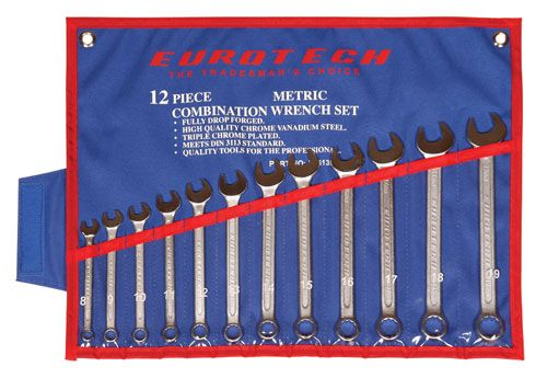 EUROTECH Tradesman Quality 12Pc Metric Spanner Set CR-V Steel