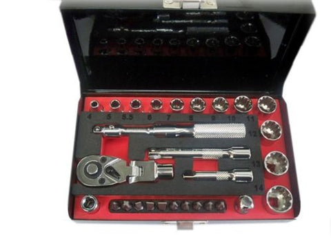 EuroTech 28 Piece 1/4 Dr Socket Wrench & Bit Set