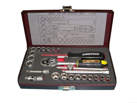 "24 Piece 1/4"" Drive AF/Metric Socket Set"
