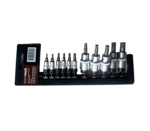 "EUROTECH Quality Tradesman 11Piece 1/4"" & 1/2"" Drive Inhex Torx Socket Set"