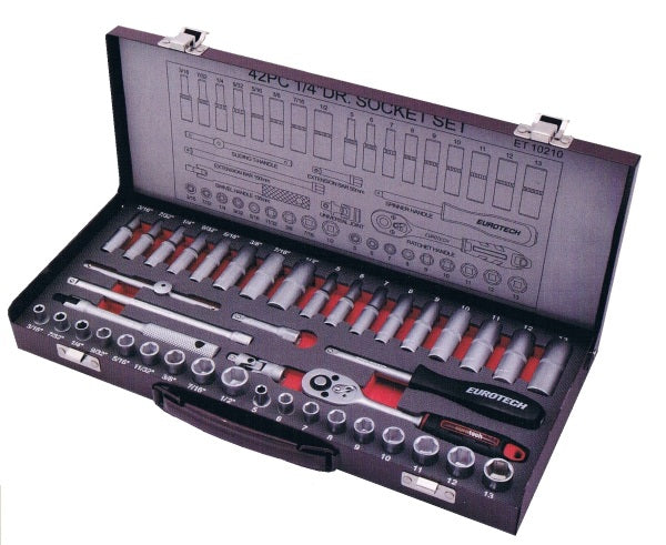 "42 Piece 1/4"" Drive Standard & Deep AF/Metric Socket Set"
