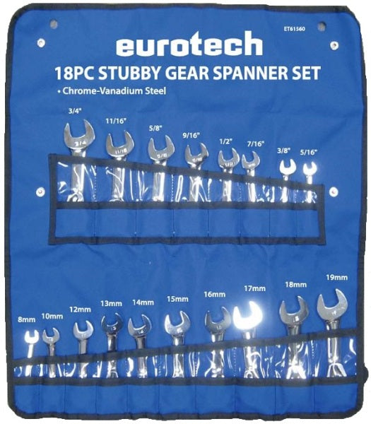 EUROTECH Tradesman Quality 18Pc AF/Metric Stubby Gear Spanner Set