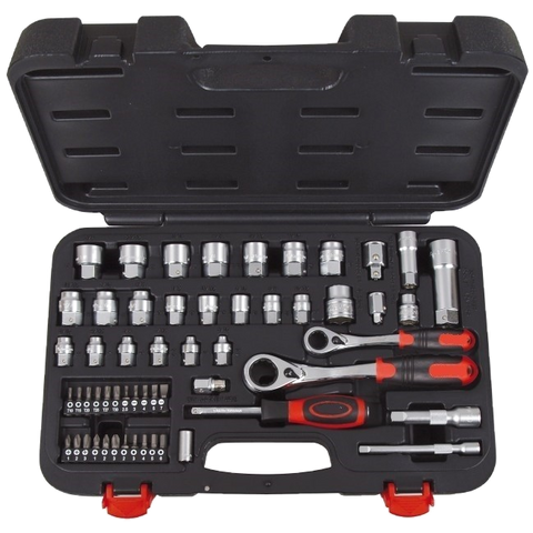 ECO-ET-EUROTECH-56 Piece 1/4 & 3/8 Dr AF/Met Go-Thru Socket Set
