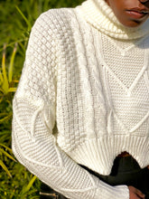 Load image into Gallery viewer, Ivory cable knit crop sweater with turtle neck detailing