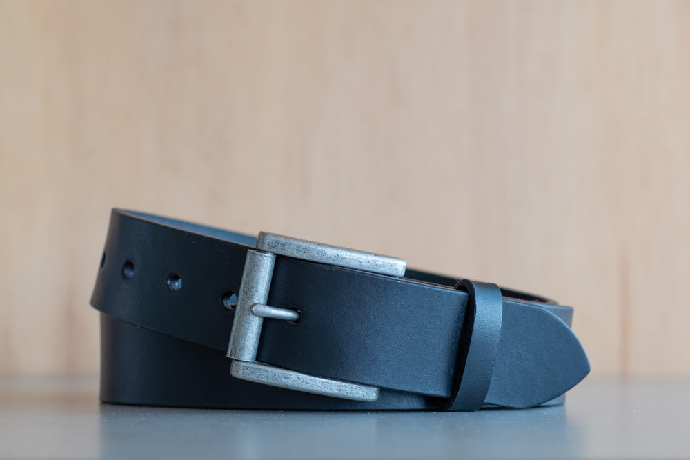 Black Vegetable Tanned Leather Belt by Anne Wesley