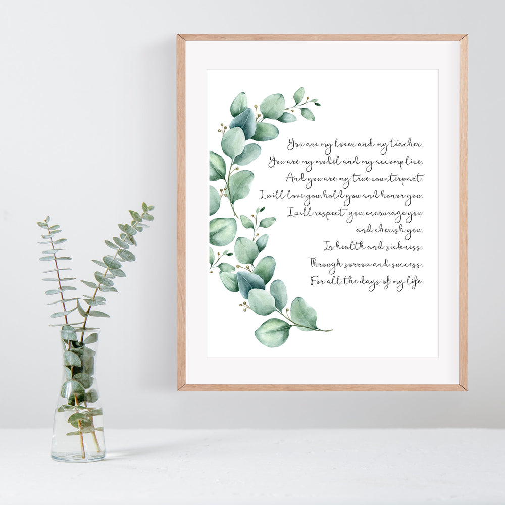 Personalized Wedding Vows / Song Handmade Paper Print - Eucalyptus