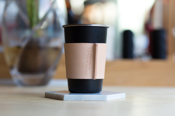 Personalized Leather Coffee Cup Sleeve