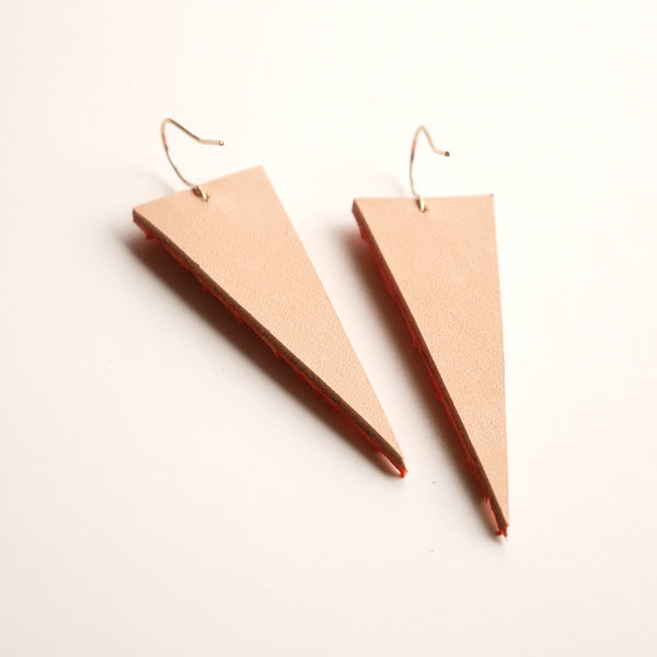 Fish Skin Leather Triangle Earrings