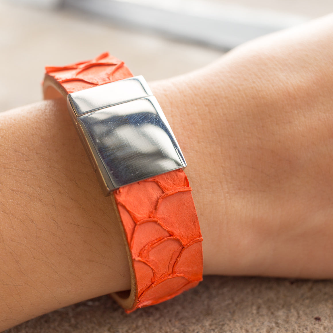 Fish Skin Leather Bracelet With Magnetic Clasp
