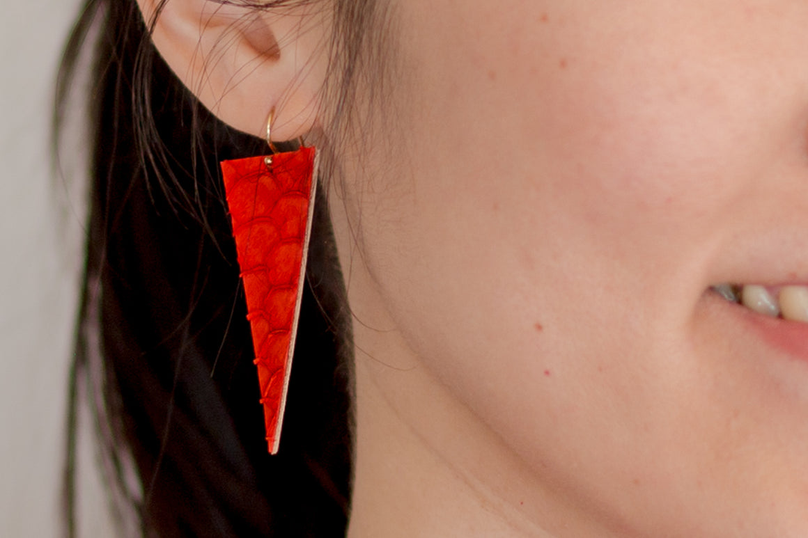 Triangle Fish Skin Leather Earrings