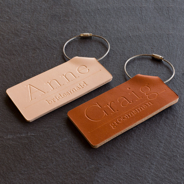 Personalized Bridesmaids & Groomsmen Folded Leather Luggage Tag - Reversible