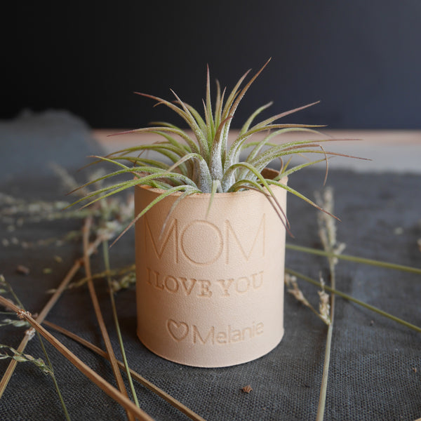 Personalized Leather Round Air Plant Holder