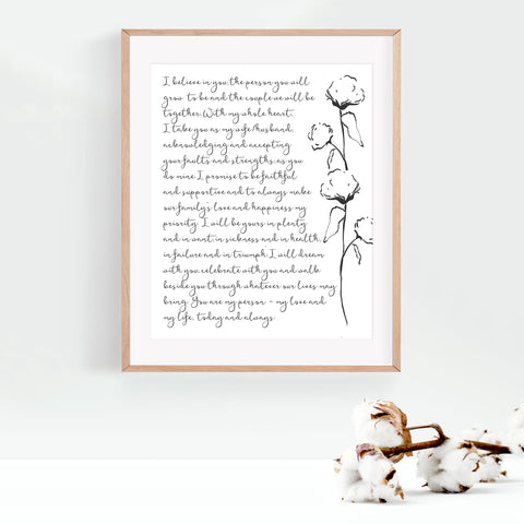 Personalized Wedding Vows / Song Handmade Cotton Paper Print - Cotton Stems