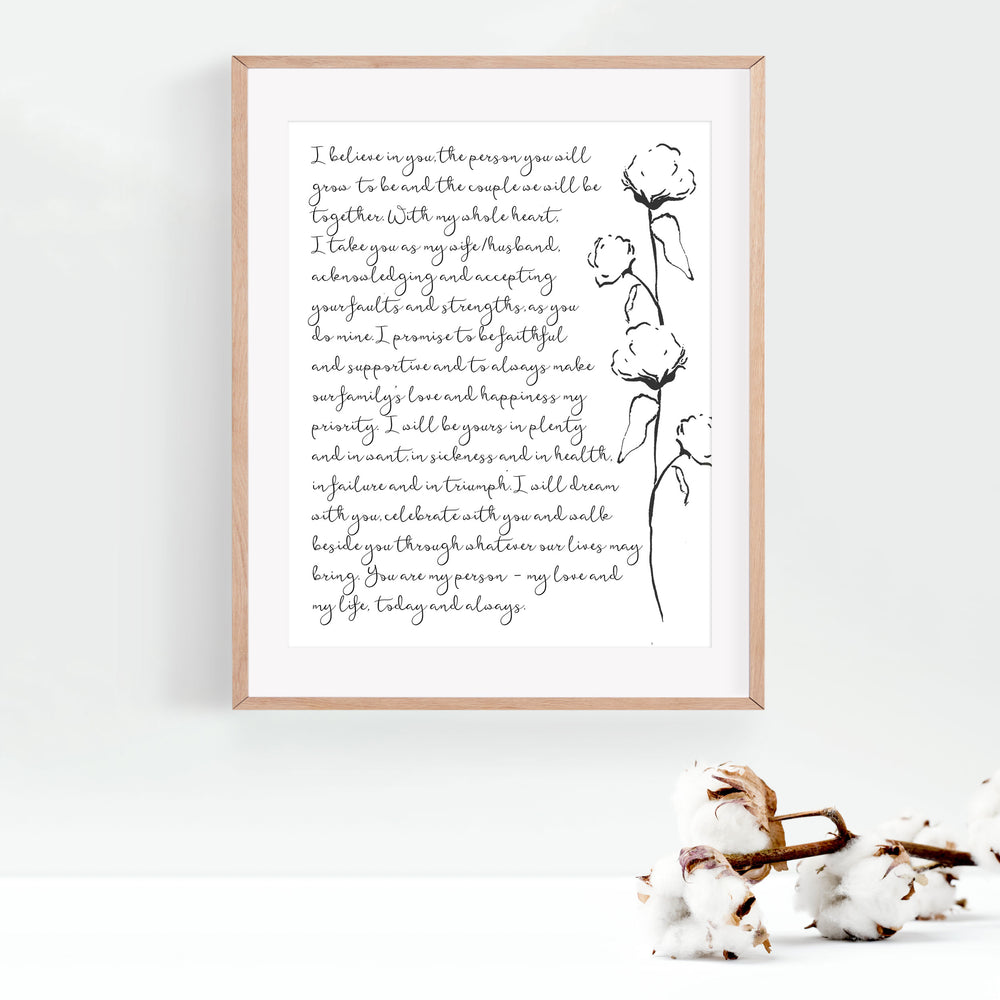 Personalized Wedding Vows / Song Print - Cotton Stems
