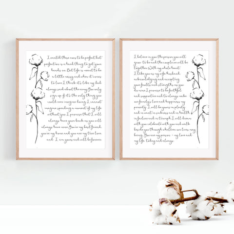 Set of 2 Personalized Wedding Vows / Song Prints - Handmade Paper - Cotton Stems