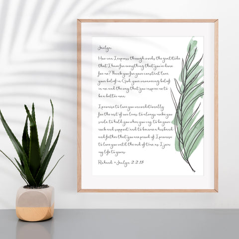 Personalized Wedding Vows / Song Handmade Cotton Paper Print - Palm Frond