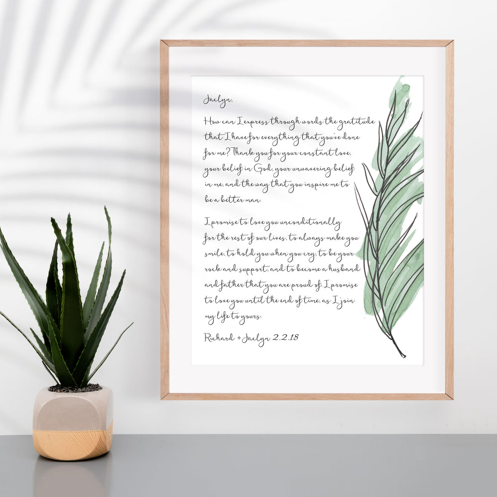 Personalized Wedding Vows / Song Print - Palm Frond