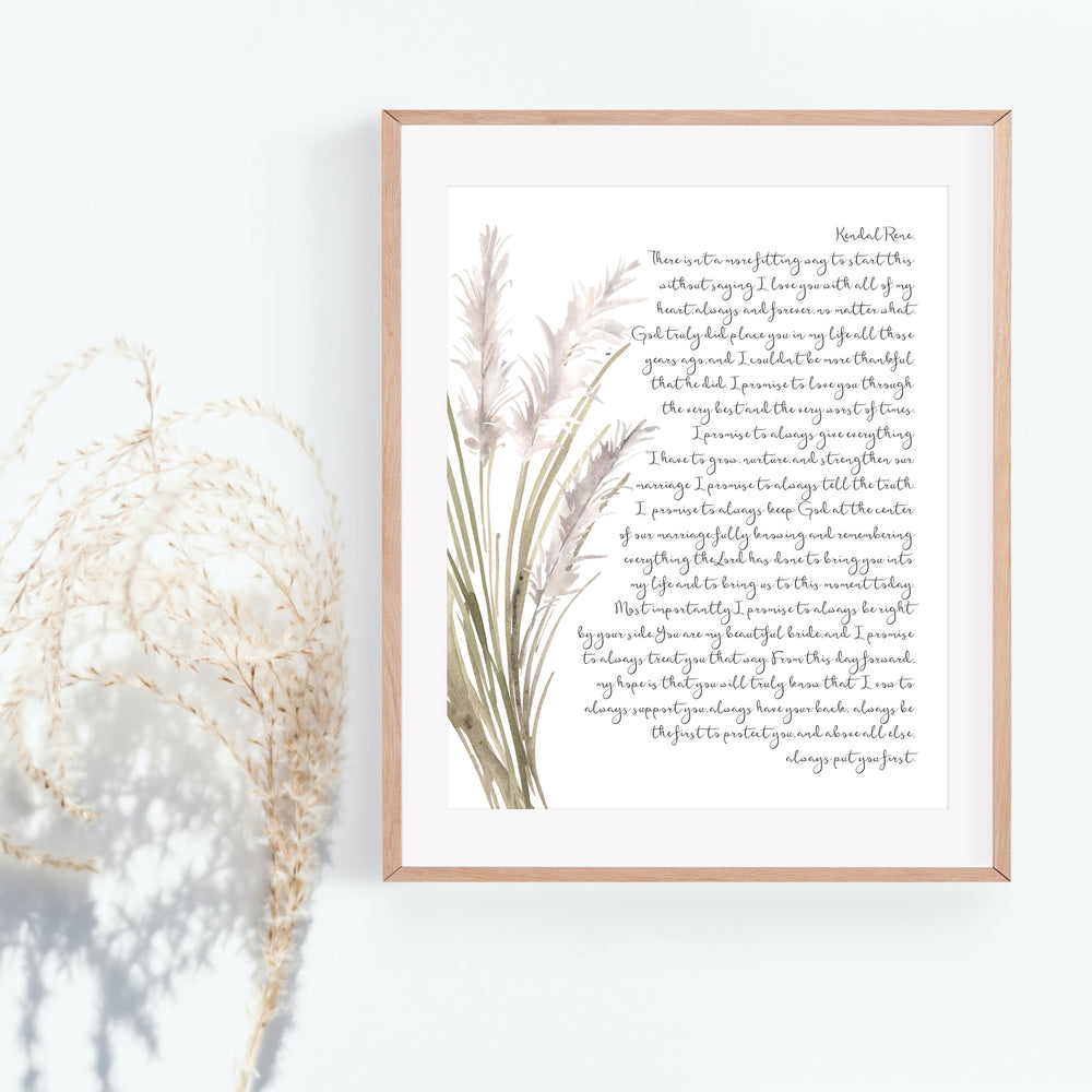 Personalized Wedding Vows / Song Print - Pampas Grass