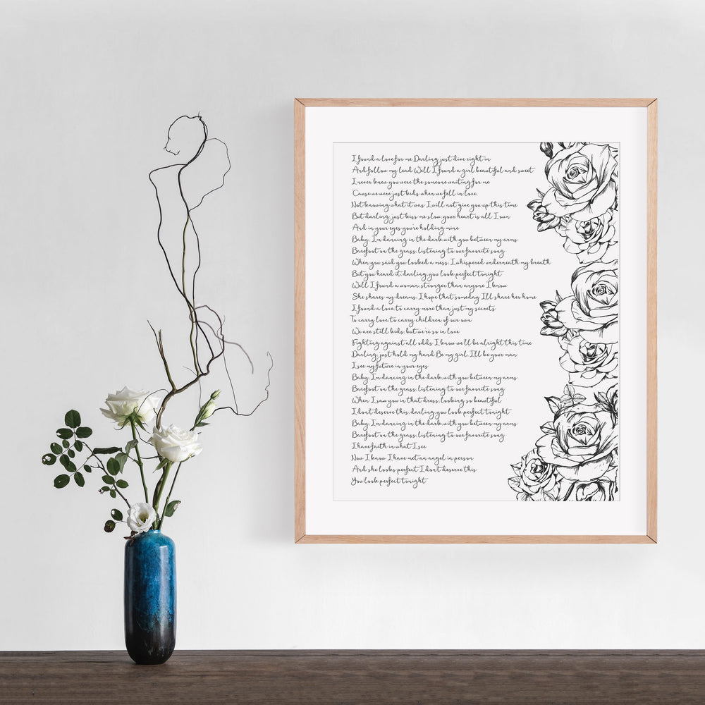 Personalized Wedding Vows / Song Handmade Cotton Paper Print - Roses