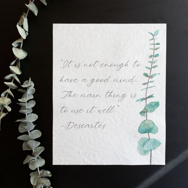 Personalized Quote Print - Handmade Paper - Baby Blue Eucalyptus