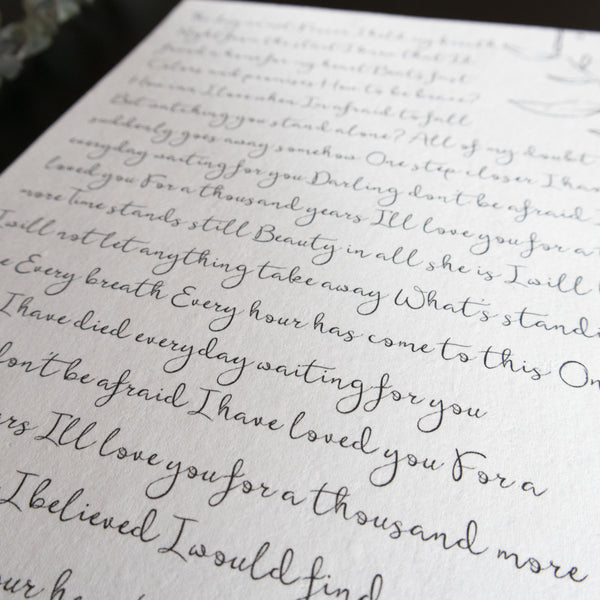Personalized Wedding Vows / Song Handmade Cotton Paper Print - Floral
