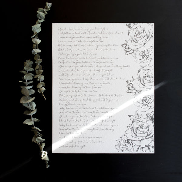 Personalized Wedding Vows / Song Print - Handmade Paper - Roses
