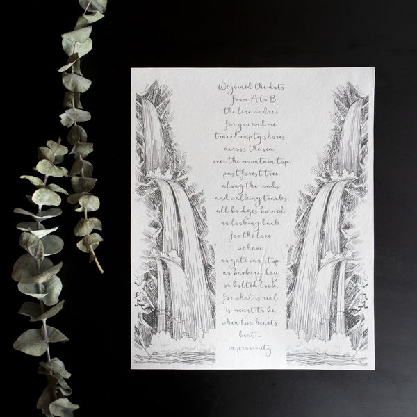 Personalized Wedding Vows / Song Print - Waterfall