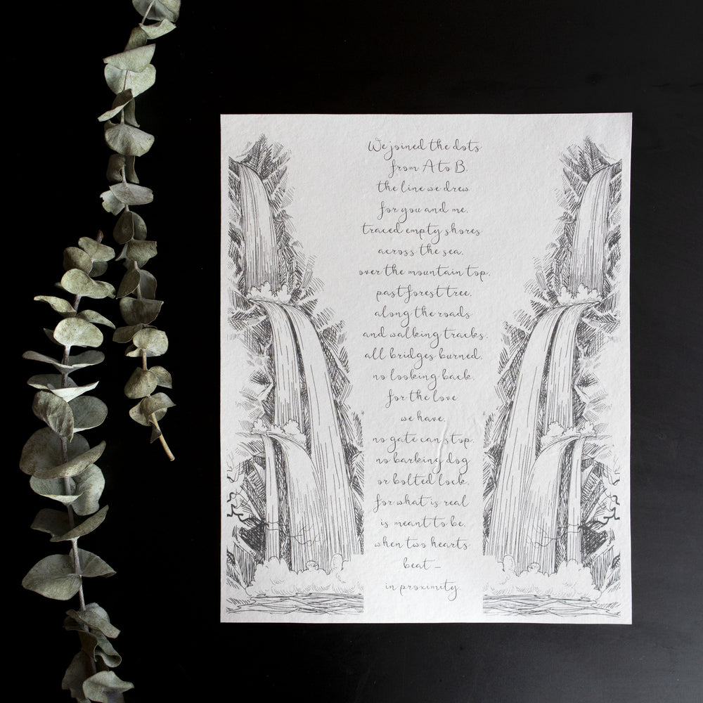 Personalized Wedding Vows / Song Handmade Cotton Paper Print - Waterfall