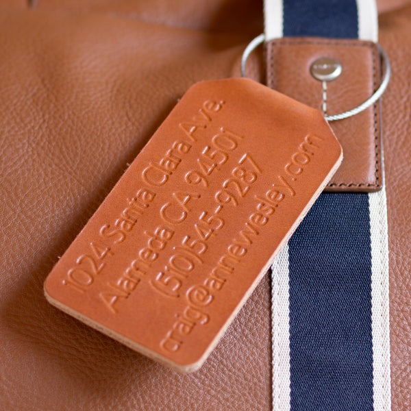 Personalized Folded Large Leather Luggage Tag - Reversible