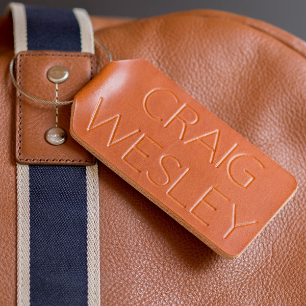Personalized Folded Large Leather Luggage Tag - Reversible Initial