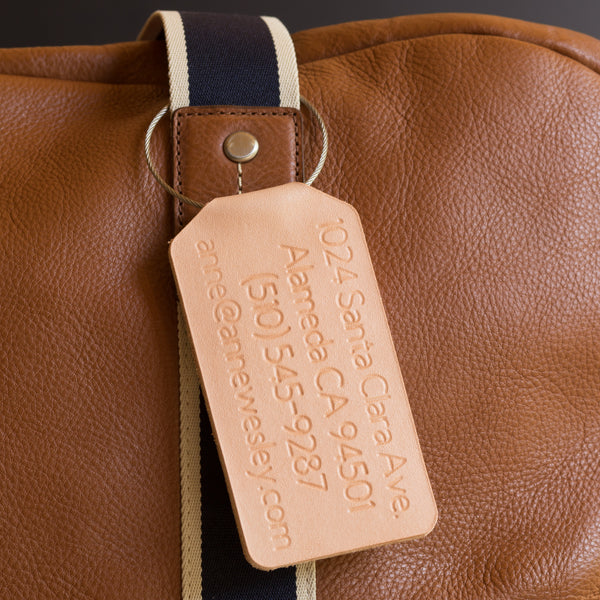 78b5084b00b Custom Leather Luggage Travel Tag - Personalized - Suitcase Tag   Anne  Wesley