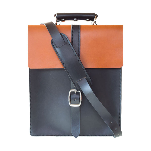 Two Tone Leather Vertical Messenger Bag