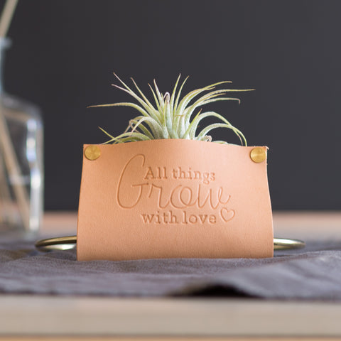 Personalized Leather Air Plant Holder Table Stand / Wall Hanging