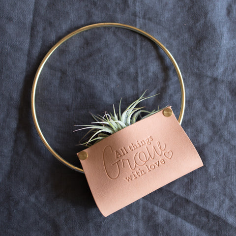 Personalized Leather Air Plant Holder Wall Hanging / Table Stand