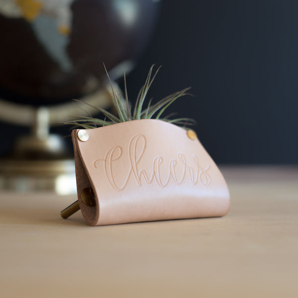 Personalized Leather Air Plant Holder Desk Stand