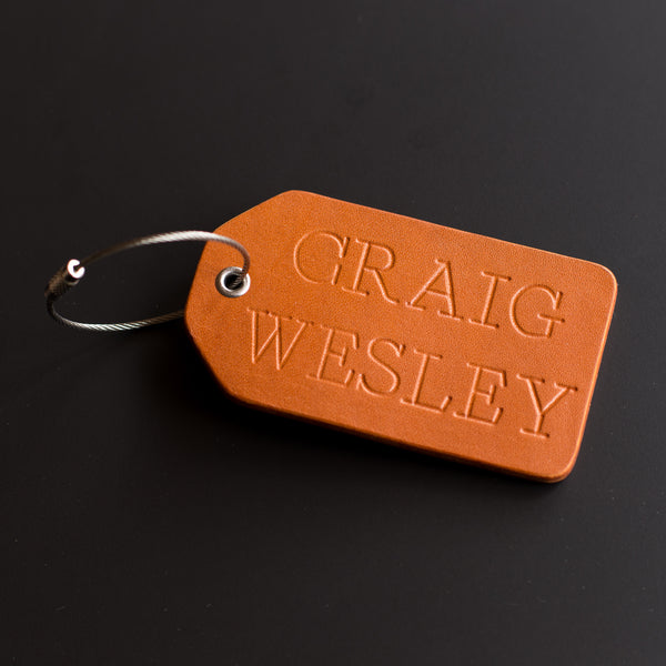 Personalized Leather Luggage Tag - Reversible