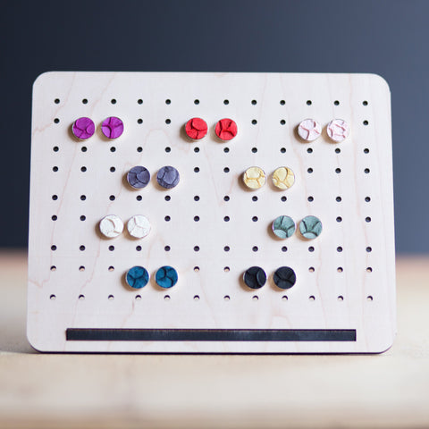 Fish Skin Leather Stud Earrings