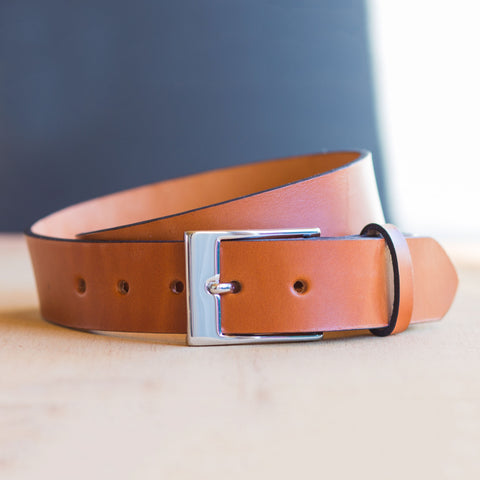 Full Grain Leather Belt in British Tan