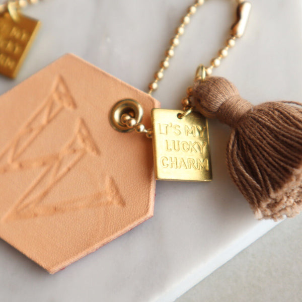 "Fish Skin Leather Hexagon Geometric Initial ""My Lucky Charm"" Keychain"