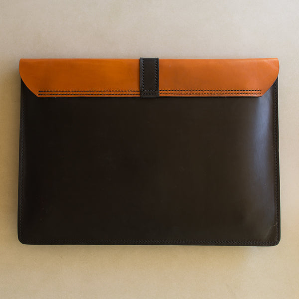 "Two Tone 13"" Macbook Leather Laptop Sleeve"