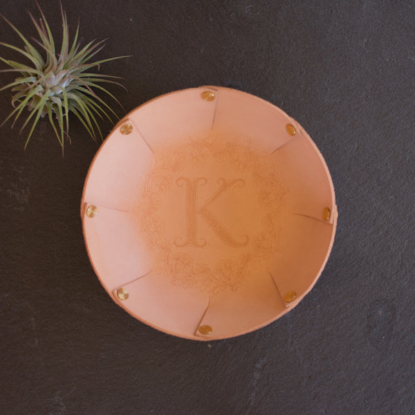 Personalized Leather Valet Catchall Tray