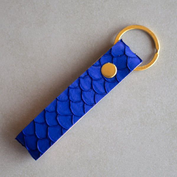 Personalized Fish Skin Leather Keychain