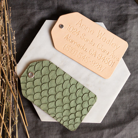 Personalized Fish Skin Leather Luggage Tag - Reversible
