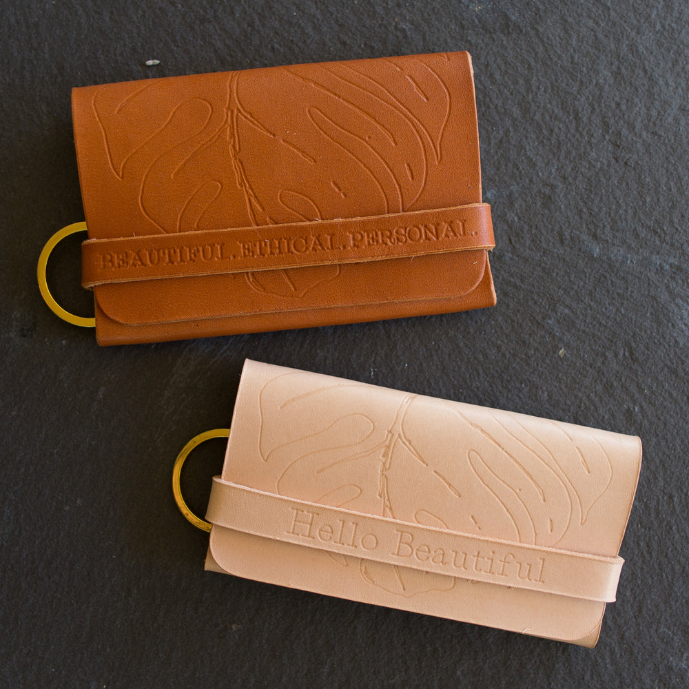 Personalized Tropical Leaf Wallet & Keychain