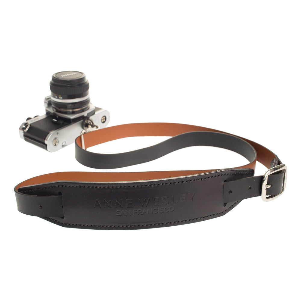 Personalized Leather Camera Strap in Black with Tan Lining