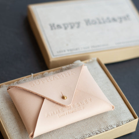 Personalized Leather Envelope Cardholder