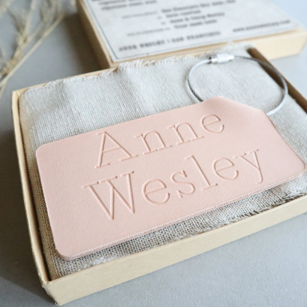 Personalized Folded Leather Luggage Tag - Reversible